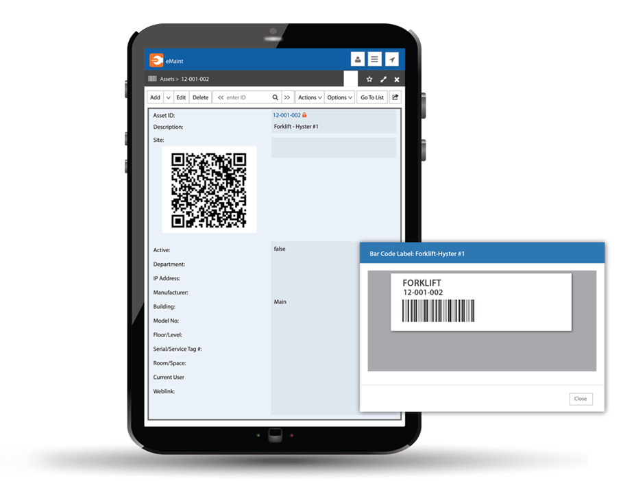 Barcode and QR Code Tablet